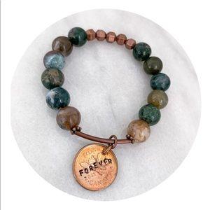 Hand strung semi precious stone bracelet